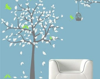 Tree wall decals wall stickers baby decal nursery decal kids wall art wall decor murals graphic- tree with birds