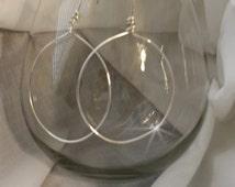 Drop Hoop, Dangle Hoops, Silver Filled, Ultra Light Weight, Hoop Earrings, Boho wrapped wire, easy to wear.