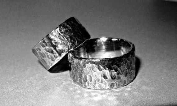 Matching Sterling Wedding Bands, Hammered Silver, Simple wide bands, Cool Mens/Womens Rings