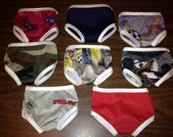"18"" Doll Panty Set of 3 Boy Underwear 3 Undies Set Mix & Match Fits American Girl Doll Clothes Boy Doll"