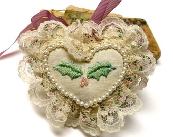 Vintage Handmade Beaded Heart Ornament. Ivory. Pink. Green. Victorian Heart. Hand Embroidered. One (1)