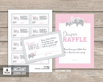 Elephant Diaper Raffle Tickets and Sign - Elephant Baby Shower - Girl Pink - INSTANT DOWNLOAD - Printable PDF