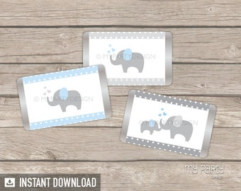 Elephant Mini Chocolate Wrappers - Elephant Baby Shower - Boy Blue - INSTANT DOWNLOAD - Printable PDF