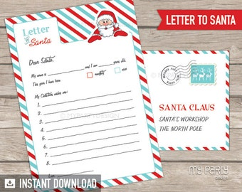 Letter to Santa kit with Envelope Template - Red Turquoise - Santa Claus - Christmas - INSTANT DOWNLOAD - Printable PDF