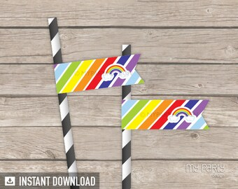 Rainbow Party - Straw Flags - INSTANT DOWNLOAD - Printable PDF