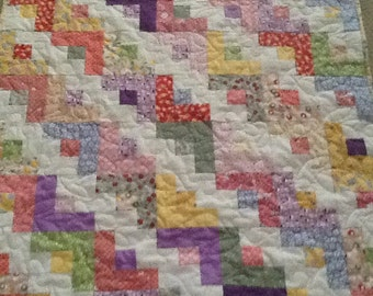 Crib size Baby or Toddler Quilt with Soft Minky Backing