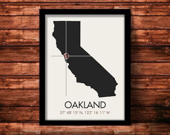 Oakland Map Print   Oakland Map Art   Oakland Print   Oakland Gift   California Map   11 x 14 Print