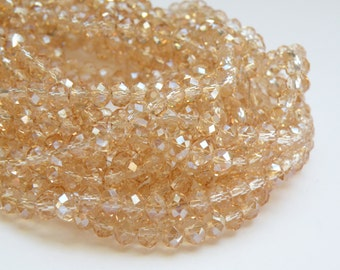 Champagne faceted glass rondelle beads 6x4mm full strand PEGLA-71-2