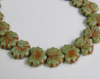 Maple Leaf Sea Foam Green brick red Picasso finish Czech pressed glass beads autumn fall leaves 10x13mm NML-1086