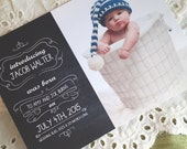 Printable Baby Announcement  - Boy Chalkboard