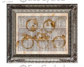 Coffee Cup Stains on Vintage Upcycled Dictionary Art Print Book Art Print Recycled Caffeine