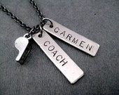 COACH Personalized Necklace - Personalized Coach Necklace with Whistle Charm - Coach Name Necklace - Coach Whistle - Coach Bag Tag Key Chain