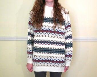 80s or 90s Chunky Sweater Tunic / Oversized Sweater / Geometric Print / Striped Sweater / Acrylic