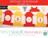 Fireman Bunting Firefighter Bunting Flag Banner - Editable Text - Instant Download - Fire Hydrant Bunting - Fireman Birthday Party