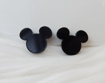 Disney Mickey Mouse silhouette stud sterling silver earrings Black post earrings Mickey earrings Black glass stud earrings
