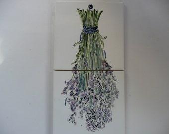Lavender Ceramic Tile Mural - handpainted tiles -6x12