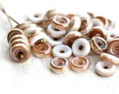 Wheel beads, czech glass spacers - Lustruos Caramel White - Matubo, 6mm, round, flat - 10gr (approx.80pc) - 0509