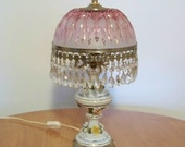 Vintage Table Lamp / Crystal and Ceramic / Capodimonte Style Lamp / Pink or Cranberry Vintage Glass Lamp / Victorian Lamps / Unique Lighting