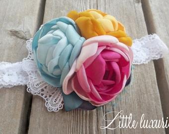 Gabby Girl - Pink , Aqua, and Mustard Satin Flower Headband, Baby Pink, Yellow, and  Aqua, Satin and Lace Headband, Satin Peony Flower,  M2M