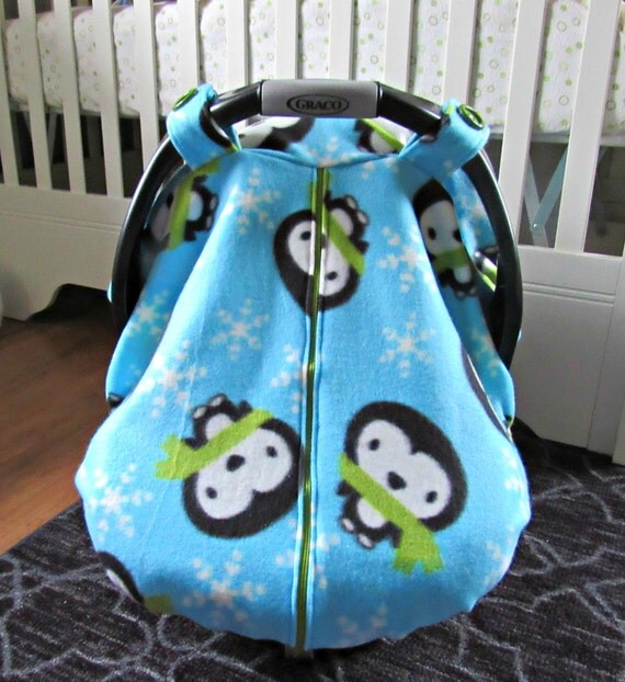 fleece baby car seat carrier canopy cover aqua snowflake. Black Bedroom Furniture Sets. Home Design Ideas