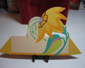 Colorful art deco surreal 1930's unused Gibson place card stylized 2 tone yellow flower with green,aqua and purple leaf