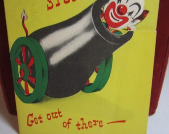 Colorful unused die cut novelty pop up 1950's Norcross get well card clown getting shot out of cannon A Circus Card