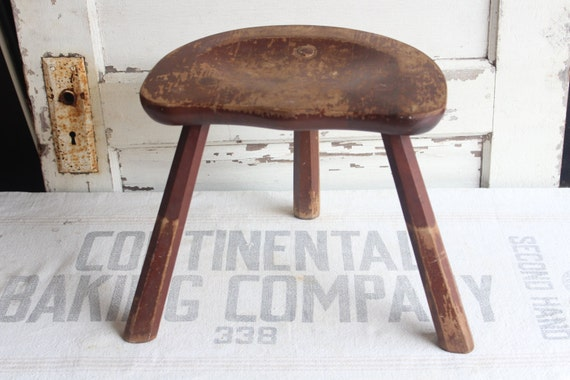Antique Primitive Wooden Three Leg Saddle Seat Milking Stool