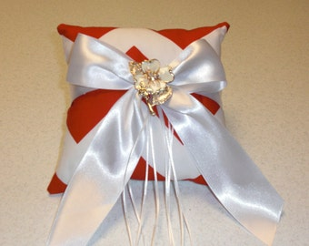 Red and White Chevron Ring Bearer Pillow