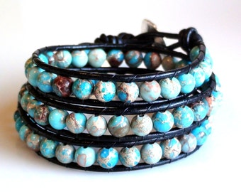 Wrap Bracelet Turquoise Black Leather fine silver button