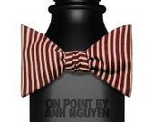 Tan and Maroon Striped Self Tie Bow Tie