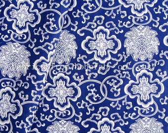 2069B - cotton fabric  - White flowers on blue - by the yard