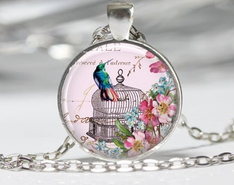 Vintage Bird with Flowers and Bird Cage Pendant Glass Pendant Necklace Jewelry Pendant