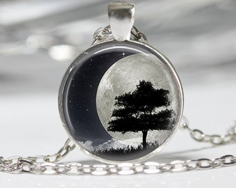 Moon and Tree  Necklace Wearable Art Moon Necklace