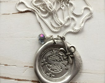 Wax Seal Necklace, SILVER color, Custom Monogramed Initial, Sterling Silver Box Chain, Original and Handmade by Okrrah