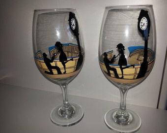 Custom engagement wine glasses cat/mountain