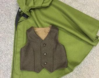 Green wool cloak and waistcoat