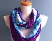 Purple and White Infinity Scarf, Winter Scarf, Nursing Cover, Head Scarf, Head Wrap