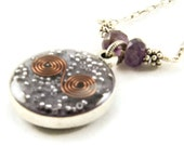 Orgone Energy Small Reversible Pendant in Silver with Amethyst Gemstones - Orgone Jewelry - Artisan Jewelry
