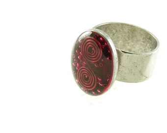 Orgone Energy Ring with Red Garnet - Simple Oval Cocktail Ring - Adjustable Ring - Orgone Energy Jewelry - Artisan Jewelry