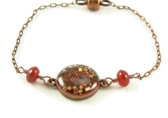 Orgone Energy Petite Stacking Bracelet in Antique Copper Circle with Carnelian Gemstone - Delicate Bracelet - Orgone Energy Jewelry