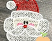 Santa Head Ornament Machine Embroidery Design Buy 5 for 8! Use Coupon Code SUMMERFUN