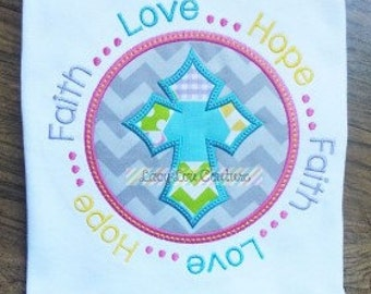 Faith Love Hope Circle Machine Embroidery Applique Design Buy 2 for 4! Use Coupon Code 50OFF