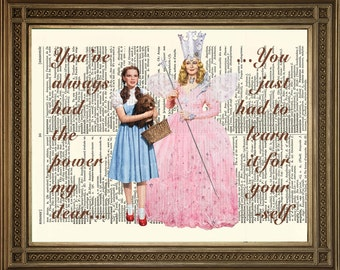 """WIZARD OF OZ Dictionary Art: Dorothy and Glinda Good Witch 'You've Always Had the Power' - Hollywood Vintage Book Page Print (8 x 10"""")"""