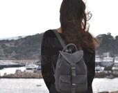 Medium size suede leather backpack medium /Women/Men gray suede backpack