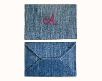Monogram Card Holder - Handmade from Salvaged Denim