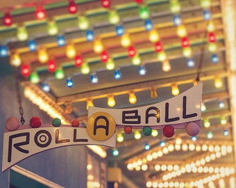 Mid-Century Retro Carnival Game Photography, Summer, Carnival Nursery Art, Santa Cruz Boardwalk, California Art Print - Roll-A-Ball Lights