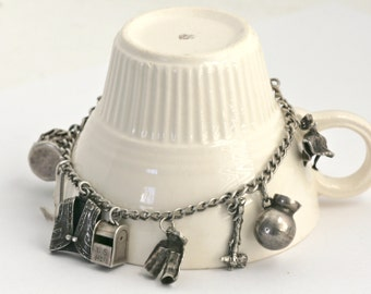 Sterling Silver 1930's Western Cowboy Charm Bracelet // Vintage Jewelry // 9 Charms