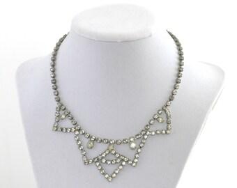 Amazing Ice Clear Silver Tone Rhinestone Choker Necklace // Vintage Jewelry