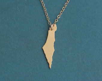 Gold Israel Map Necklace , Small Israel Charm , I Love Israel Necklace , Israeli Jewelry