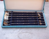 Sterling Silver Iced Tea Straw Spoons with Charms Set of 6 in Original Hinged Box